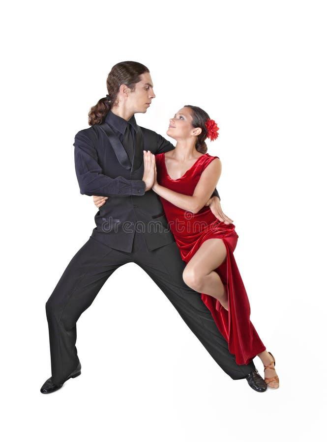 Tango joven del baile de los pares foto de archivo