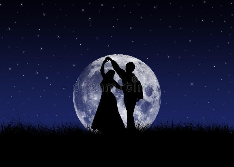 Tango na frente da lua ilustração royalty free