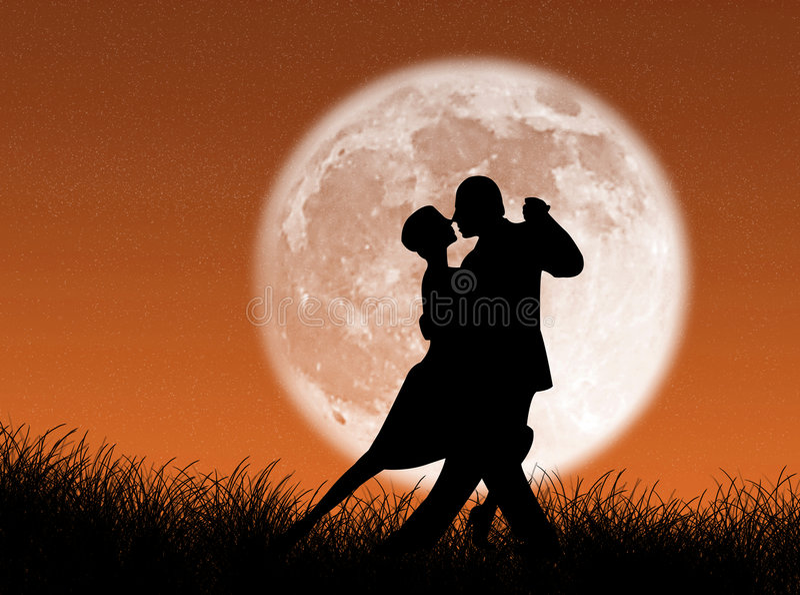 Tango na lua ilustração do vetor