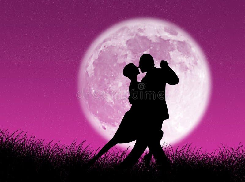 Tango na lua ilustração stock