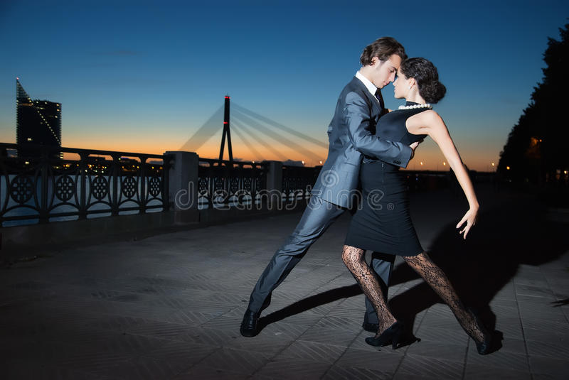 Tango in the night city royalty free stock image