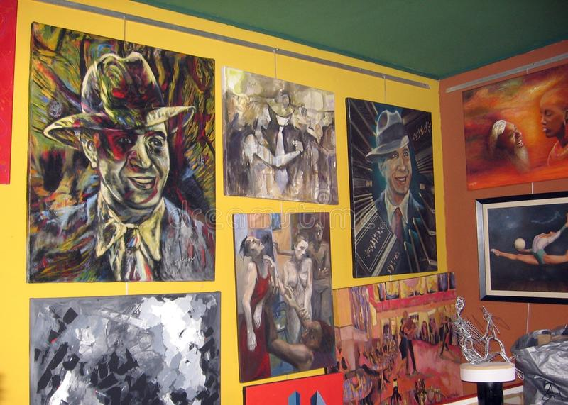Tango paintings in a picturesque art gallery La Boca neighborhood Buenos Aires Argentina stock photo
