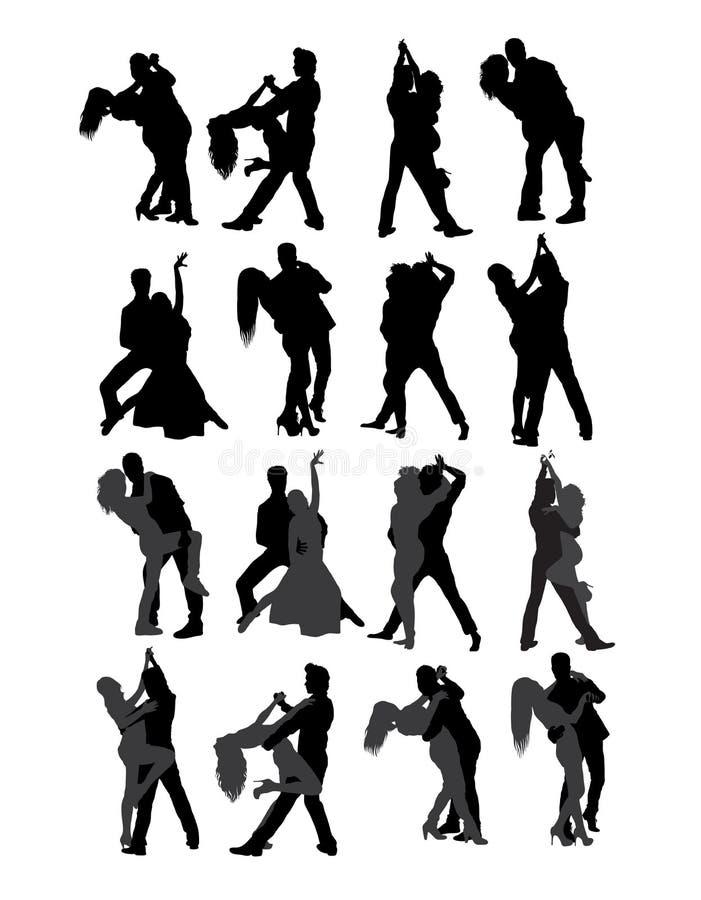 Tango and Salsa Couple Dancer Silhouettes vector illustration