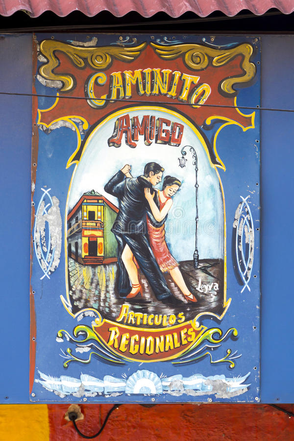 Tango sign in Caminito famous street in La Boca, Buenos Aires. BUENOS AIRES, ARGENTINA, NOVEMBER 22: Closeup of colorful Tango wooden sign in Caminito famous stock photos