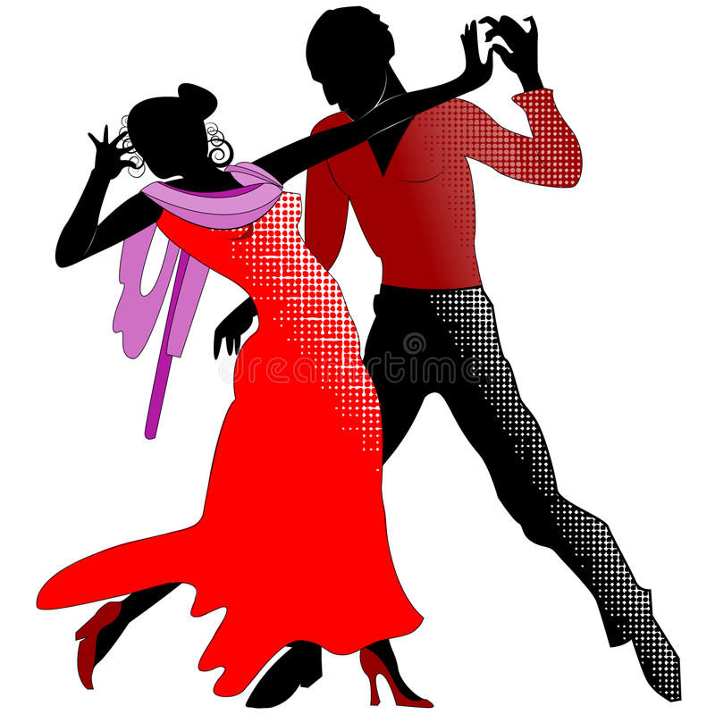 Tango, silhouettes en rouge illustration libre de droits