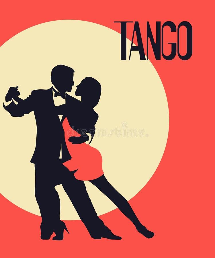 Tango tancerzy karta royalty ilustracja