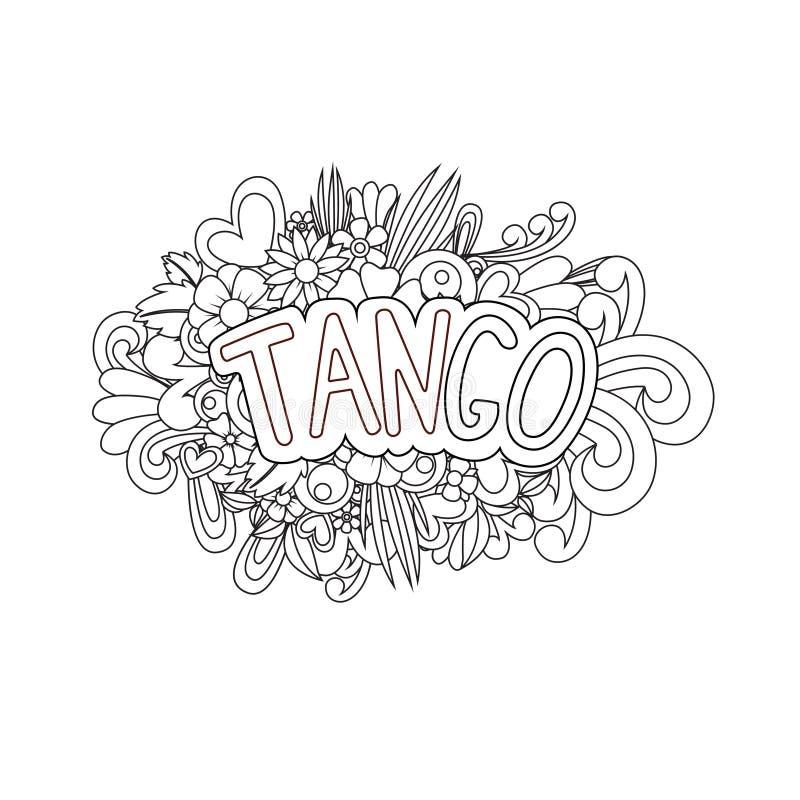 Tango Zen Tangle Flores e texto da garatuja para a dança ilustração stock