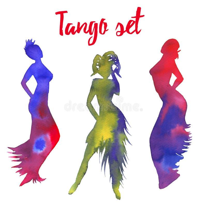 Tangoreeks Silhouetten van vrouwen Danser op witte achtergrond wordt geïsoleerd die vector illustratie
