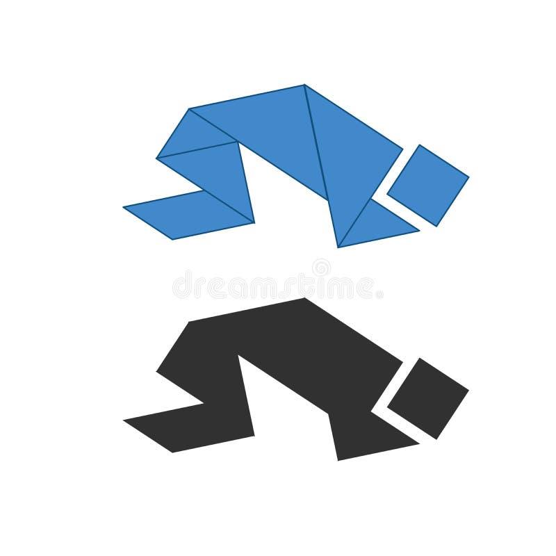 Tangram de pri?re de personne Puzzle de dissection de chinois traditionnel, sept morceaux de carrelage - formes g?om?triques : tr illustration de vecteur