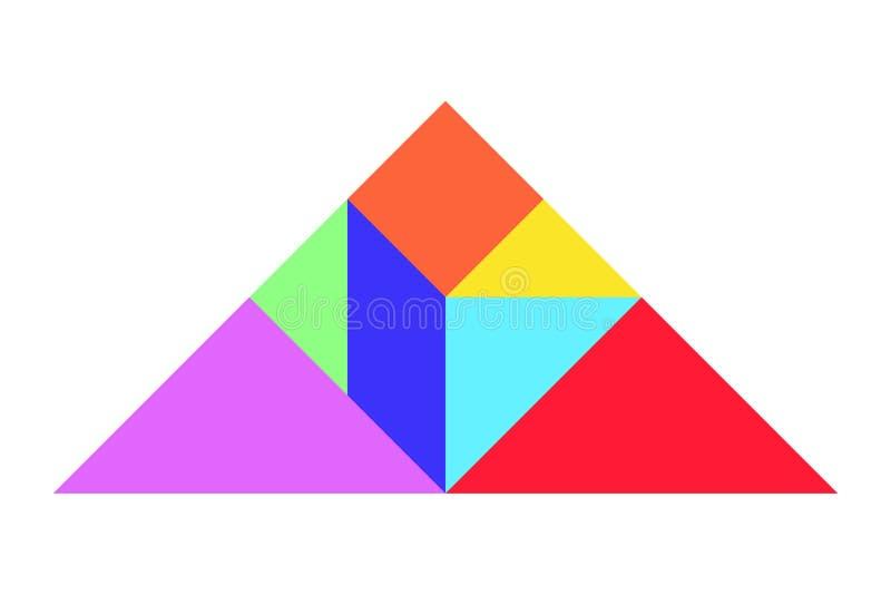 Tangram di colore nella forma del triangolo sul vettore bianco del fondo illustrazione di stock
