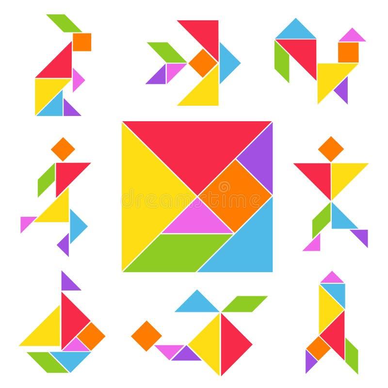 Tangram gry set ilustracja wektor