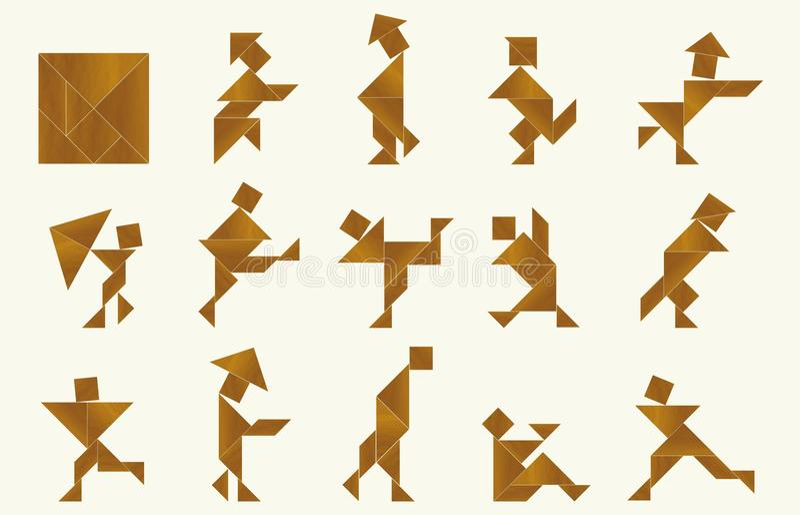 Tangram, les gens illustration stock