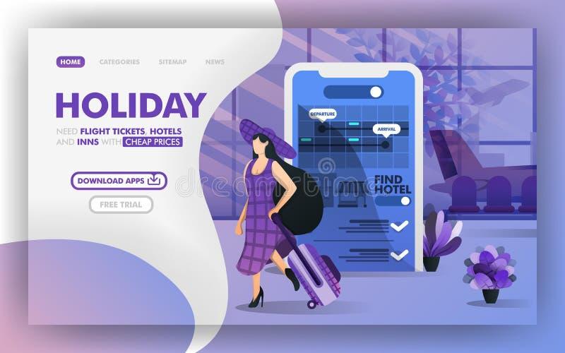 Tani wakacje używać mobilnego podaniowego Wektorowego Ilustracyjnego pojęcie, kobiety z kapeluszu wakacyjnym używa app Łatwy używ royalty ilustracja