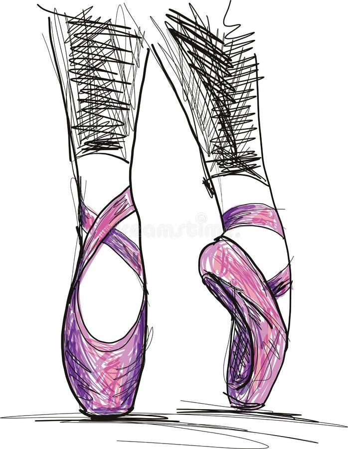 Taniec baleriny baletniczy buty ilustracji
