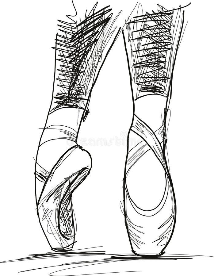 Taniec baleriny baletniczy buty ilustracja wektor