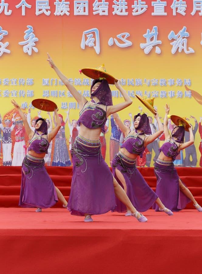 Taniec Huian okręgu administracyjnego kobiety obraz stock