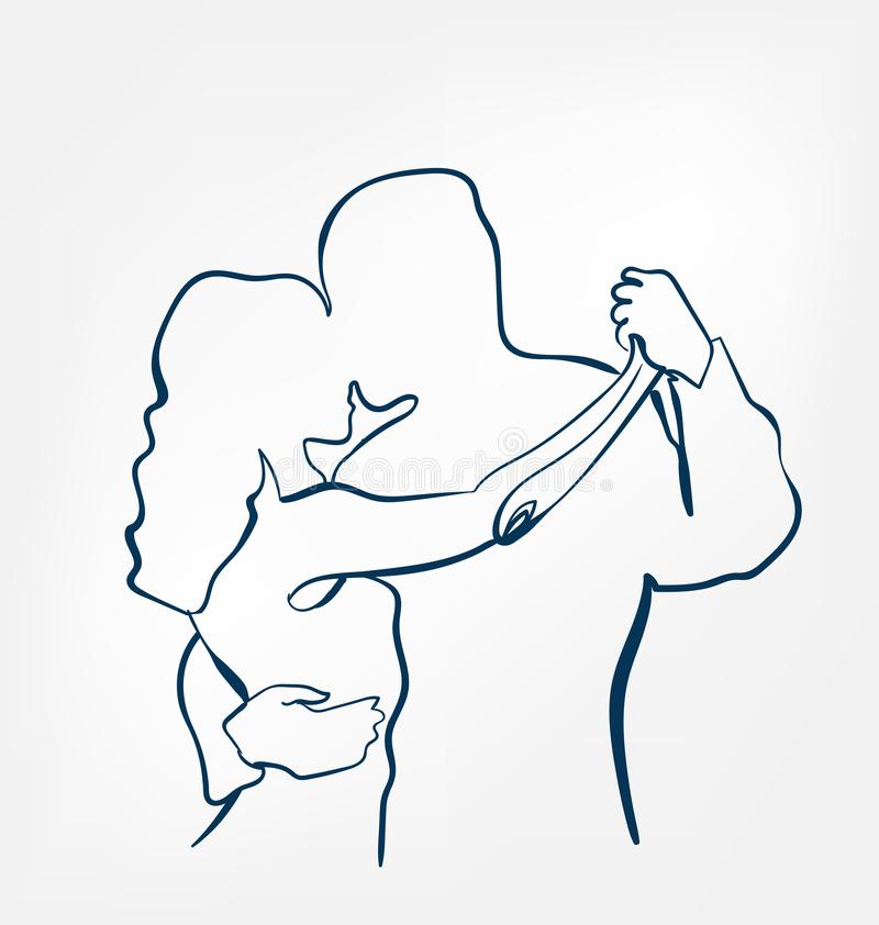 Taniec pary sihouette nakreślenia linii projekt ilustracji