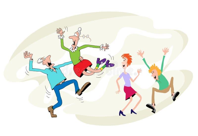 taniec starsze osoby ilustracji