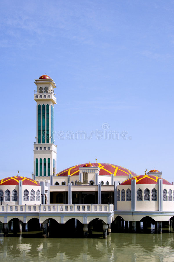 Tanjong Bunga Mosque. A beautiful mosque on stilts by the sea at Tanjong Bunga, Penang, Malaysia royalty free stock photo