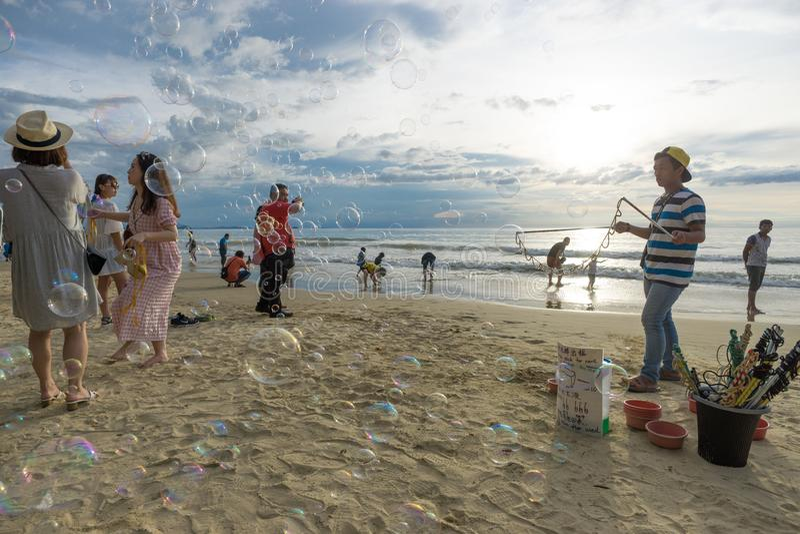 Tanjung Aru plaża, Sabah obraz stock