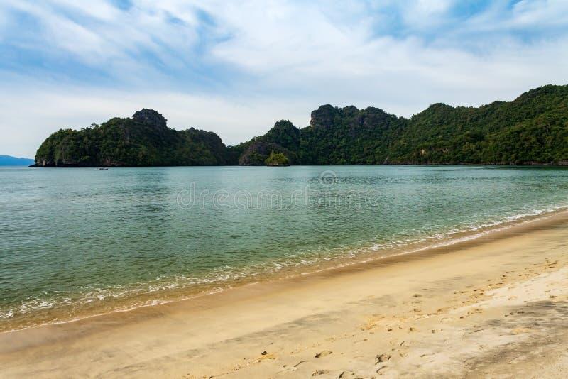 Tanjung Rhu or Tanjong Rhu beach facing Pulau Gua on Langkawi island, Andaman Sea, state of Kedah, Malaysia. Tanjung Rhu or Tanjong Rhu beach facing Pulau Gua stock images