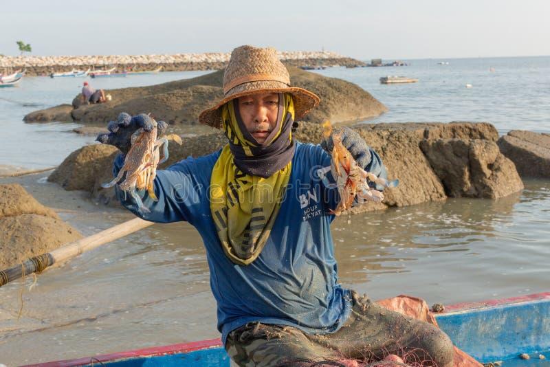 Local fisherman in his fishing boat,sorting his morning catch of crab. Tanjung Tokong Beach, Penang Island, Malaysia: December 25, 2018: Local fisherman in his royalty free stock photo