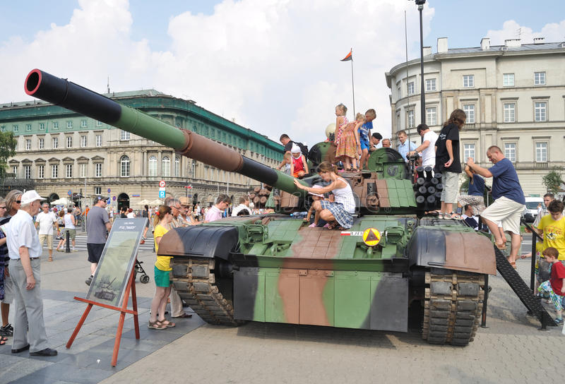 TANK. PT-91 Twardy - Polish main battle tank - An exhibition of military equipment is on display during celebrations of the Polish Armed Forces Day. Photo taken stock photo