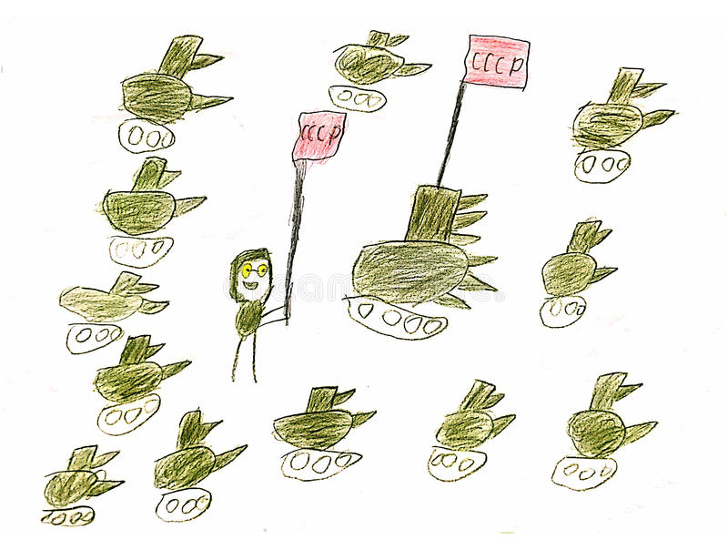 Tank army returns to the war. Children`s drawing on a white background showing a tank army of ex-USSR countries royalty free illustration