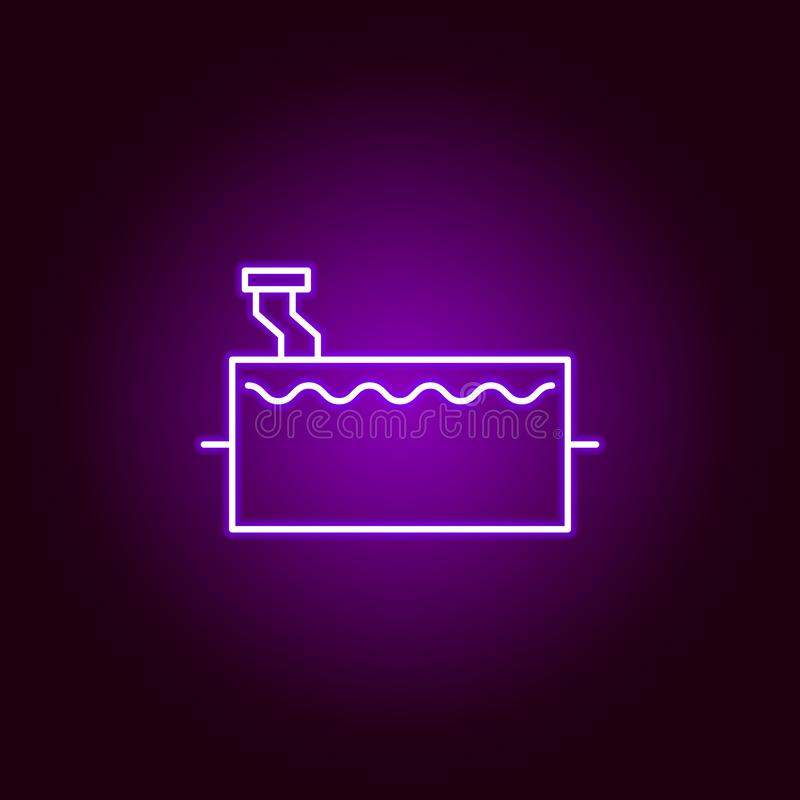 tank car outline icon in neon style. Elements of car repair illustration in neon style icon. Signs and symbols can be used for web vector illustration