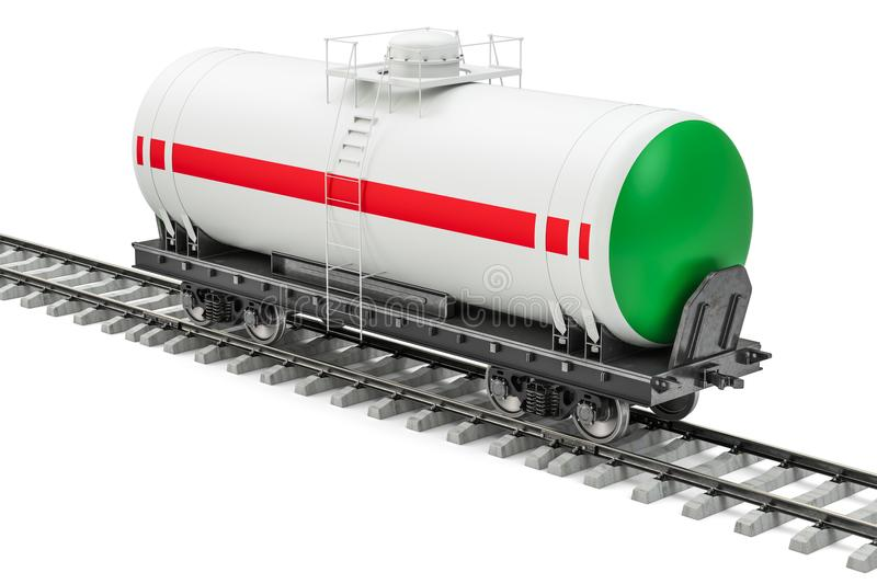 Tank car on the railway, 3D rendering vector illustration