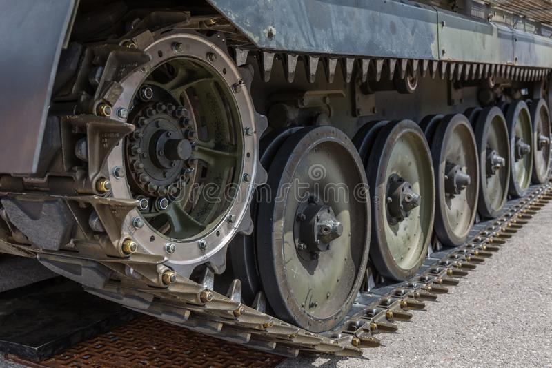 Tank, Caterpillar, Continuous Tracks. A close up of modern tank/caterpillar/continuous tracks on a army vehicle stock photography