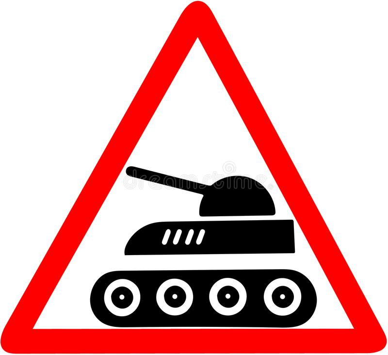 Tank caution warning red triangular road sign isolated on the white background stock illustration