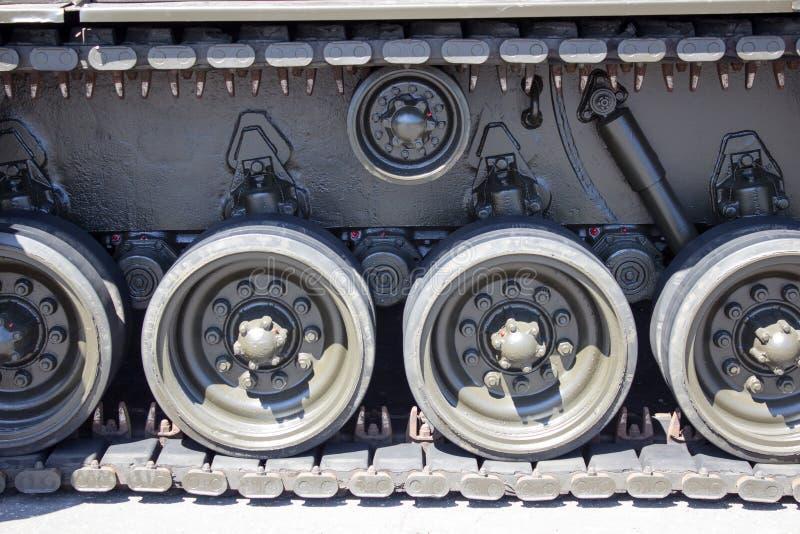 Tank close-up with wheel, caterpillar. American tank. stock image