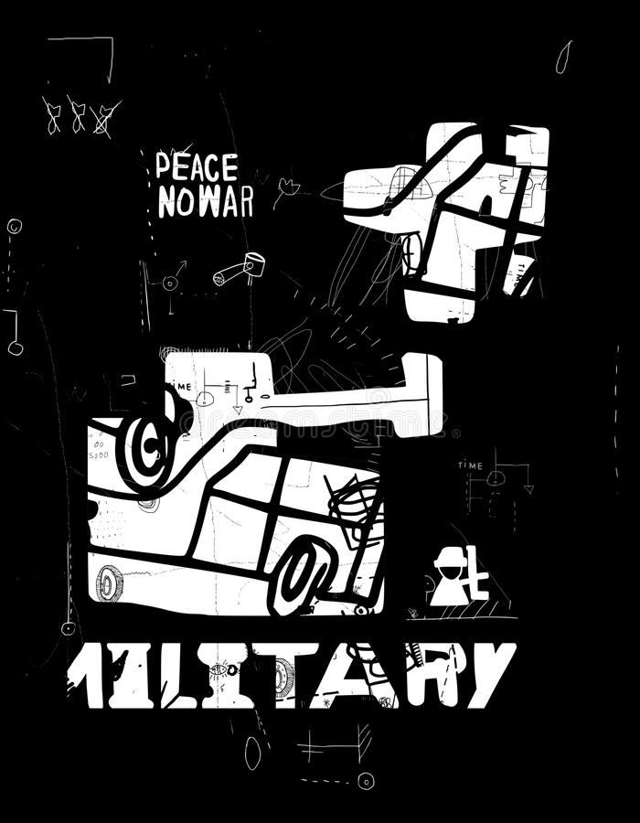 Tank en vliegtuigen royalty-vrije illustratie