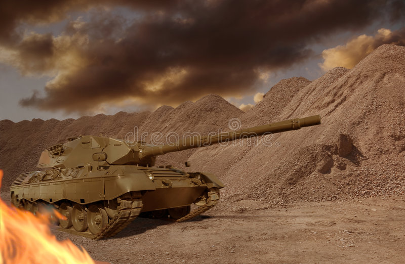 Tank Firefight stock foto