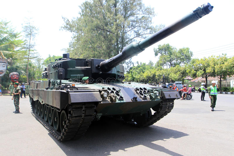 Tank. The Indonesian army's Leopard tanks parked in a park in the city of Solo, Central Java, Indonesia stock photos