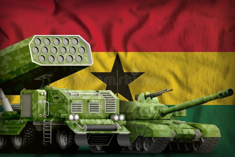 Ghana heavy military armored vehicles concept on the national flag background. 3d Illustration. Tank and missile launcher with summer pixel camouflage on the royalty free stock image