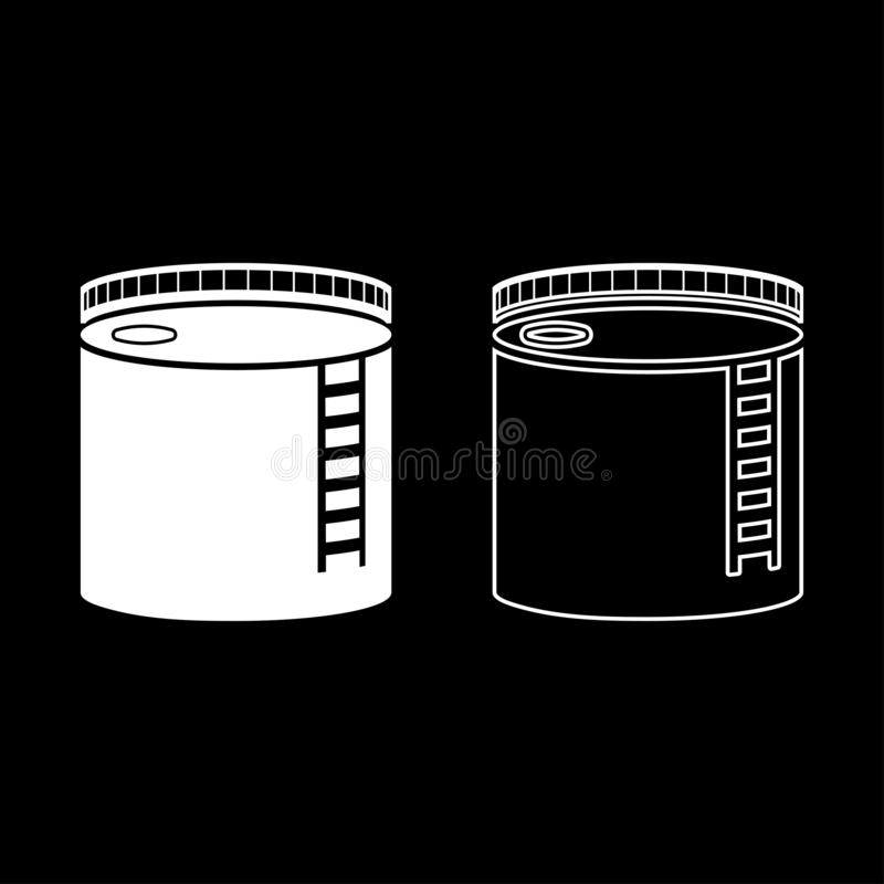Tank with oil Oil storage tank Heating oil icon set white color illustration flat style simple image vector illustration