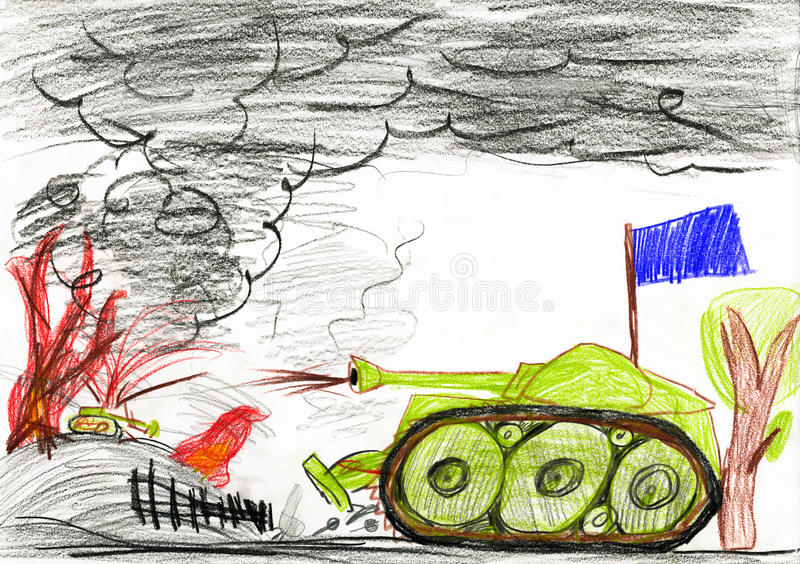Tank in oorlogsslag Tekening van een vader en een zoon stock illustratie