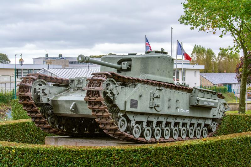 Tank outside the Museum of the Battle of Normandy in Bayeux royalty free stock photography