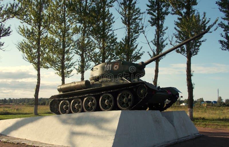 Tank on the pedestal stock image