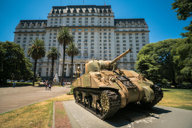 Tank Sherman M4A4 in front the Ministry of Defense of Argentina. Buenos Aires, Argentina, Feb 01: Tank Sherman M4A4 in front the Libertador Building stock photos