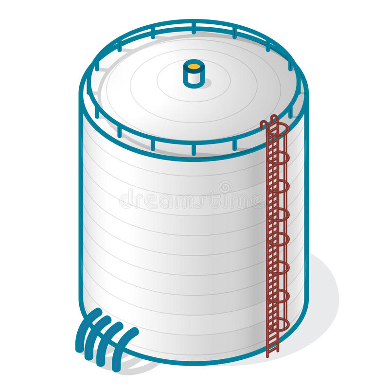 Tank for storing water, gas, oil, oxygen and solid fuels. stock illustration