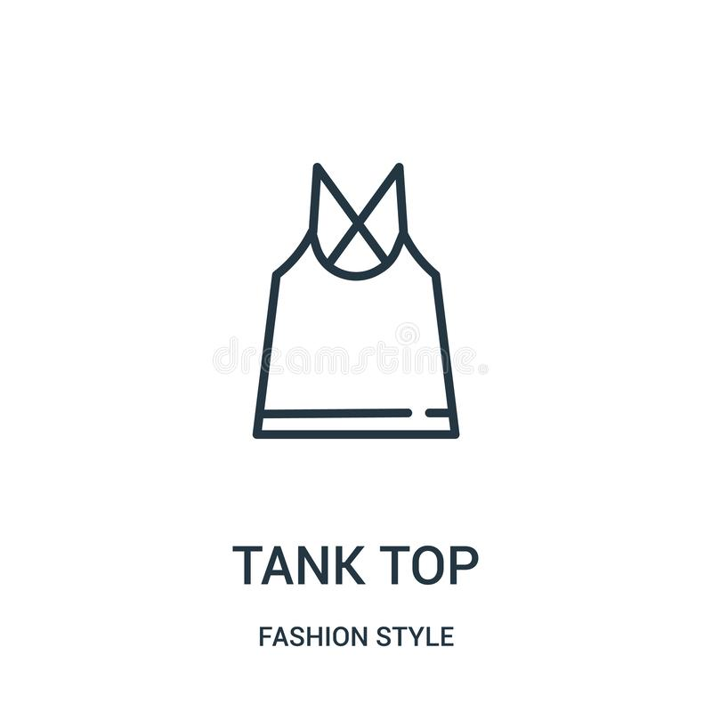 tank top icon vector from fashion style collection. Thin line tank top outline icon vector illustration stock illustration