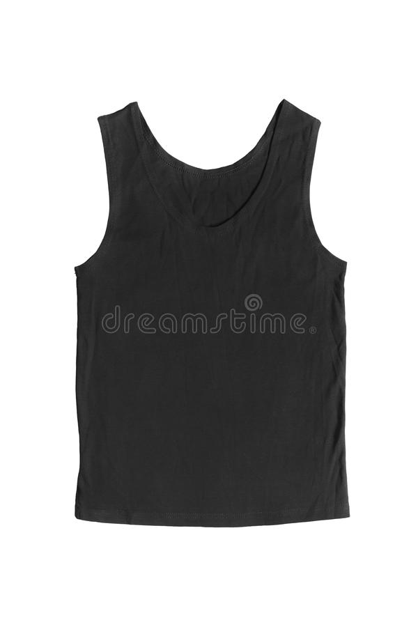 Tank top. Simple black tank top isolated over white royalty free stock images
