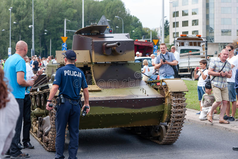 Tank 7TP. WARSAW, POLAND - AUGUST 15, 2014: Polish vintage Tank 7TP, world's first diesel engine powered tank (in production) during the Polish Armed Forces Day stock images