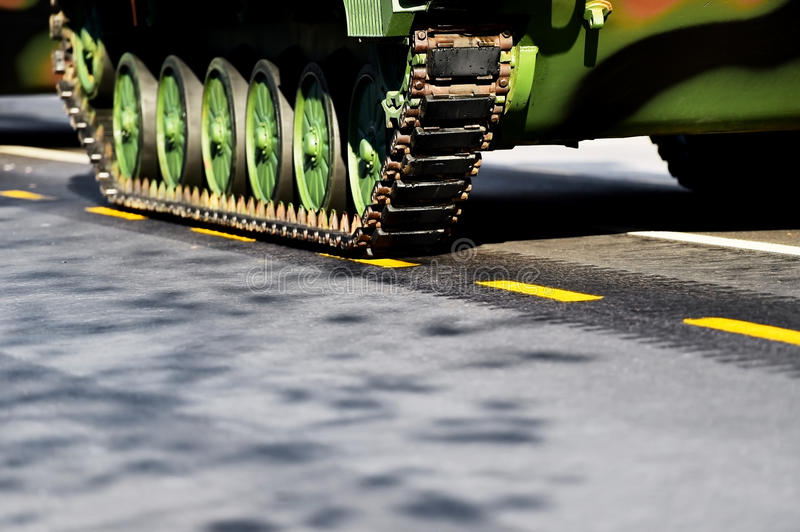 Tank tracks and wheels detail royalty free stock photography