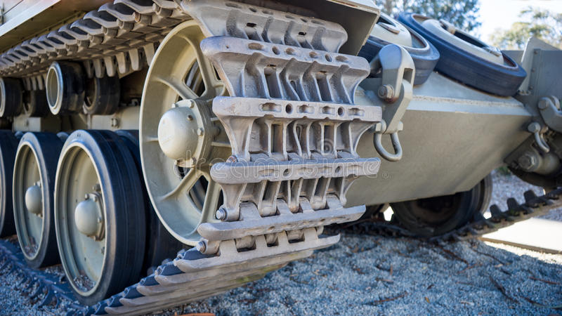 Tank tread and road wheels royalty free stock images