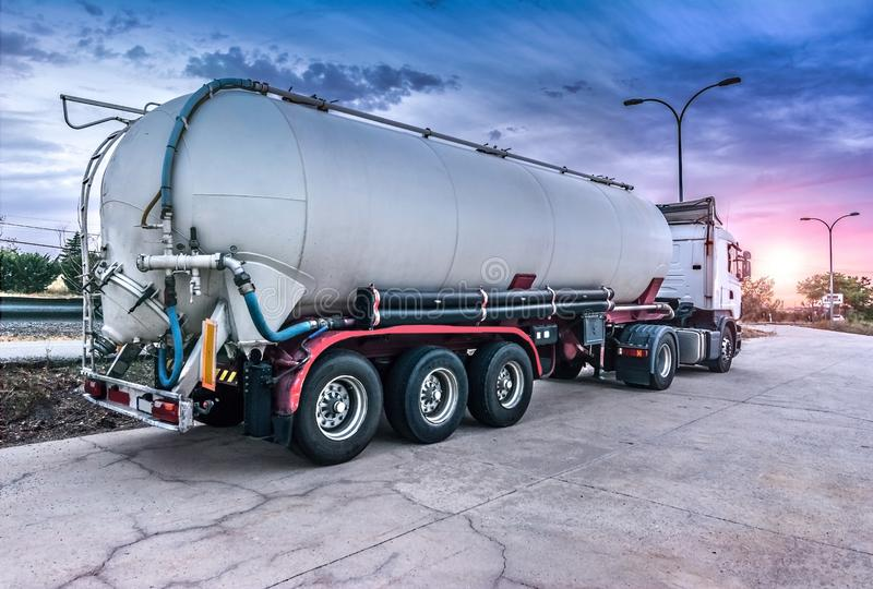 Tank truck carrying fuel royalty free stock photo