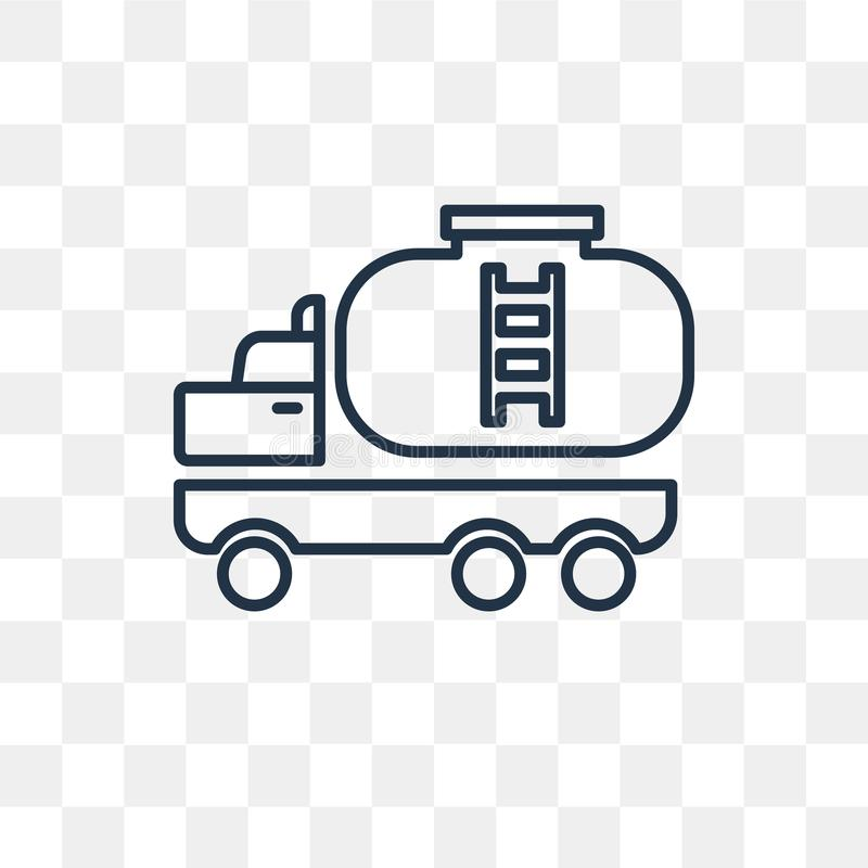 Tank truck vector icon isolated on transparent background, linear Tank truck transparency concept can be used web and mobile stock illustration
